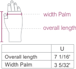 Alpaca Cable Fantasy Fingerless Gloves Size chart