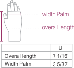 Alpaca Cable Fingerless Gloves with Suri Fur Size chart
