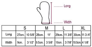 Reversible Alpaca Mittens Heavy Weight Size chart