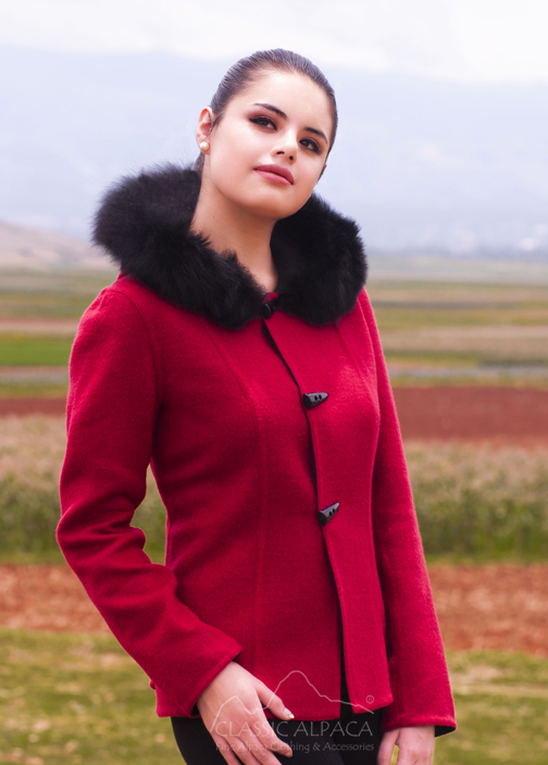 Ladies Reversible Alpaca Toggle Jacket with Fur