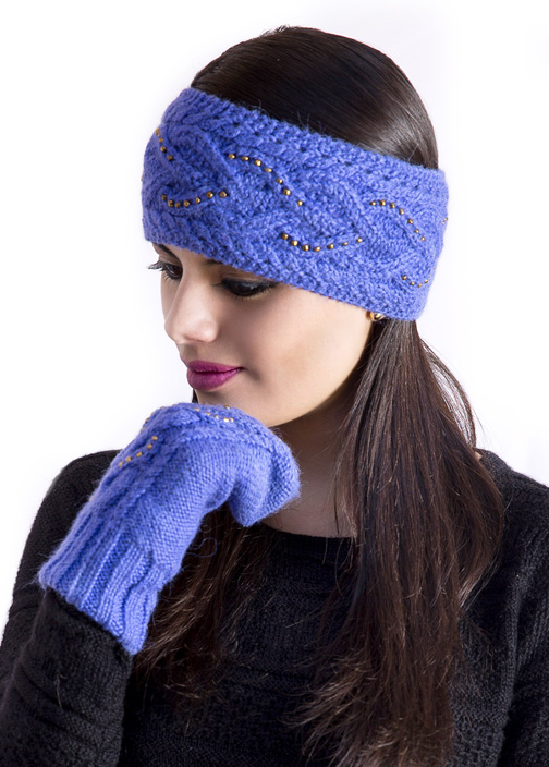Alpaca Headband Knitting Pattern : Purple Diana Cable Alpaca Headband