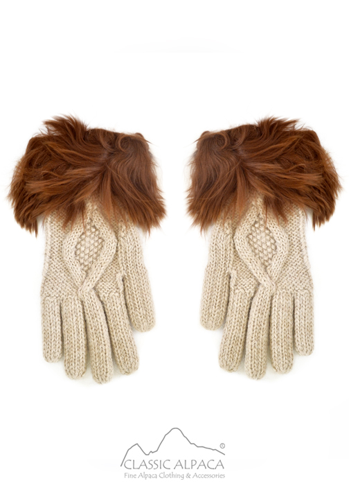 Diamond Cable Alpaca Gloves With Suri Fur