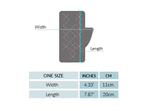 Shadow Cable Alpaca Fingerless Gloves Size chart