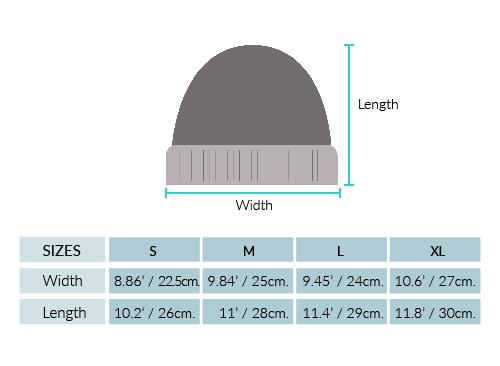 Double Knit Alpaca HUNTER Hat Size chart