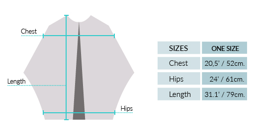 Royal Alpaca Poncho Cape With Pockets Size chart