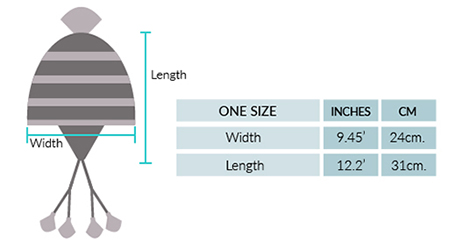 Ilave Alpaca Hat with Ear Flaps Size chart