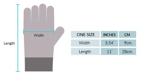 Marguerite Baby Alpaca Gloves Size chart