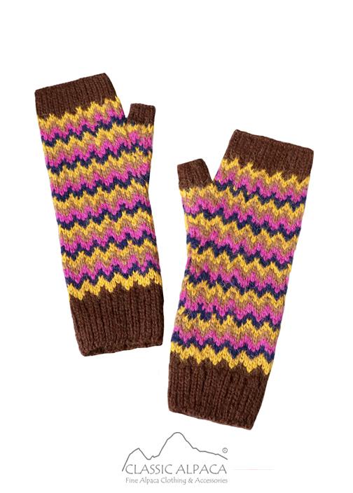 Tribal Alpaca Long Fingerless Gloves