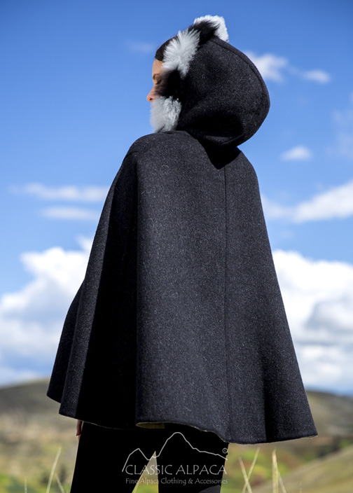 Alpaca Reversible Riding Hood Cape with Fur