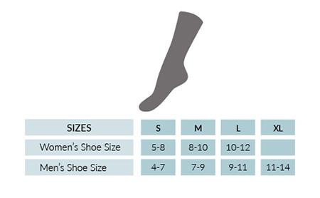 Alpaca Omni Hiker Unisex Socks Size chart