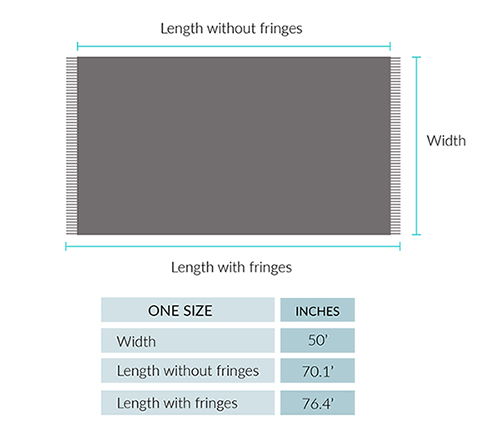 Woven & Brushed Baby Alpaca Throw Size chart