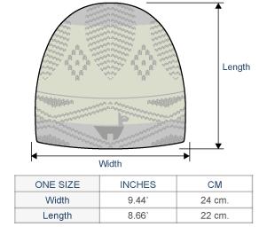 Reversible Alpaquita Knit Hat Size chart