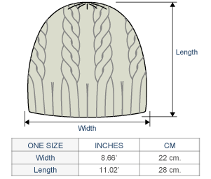Justin Cable Alpaca Hat Size chart