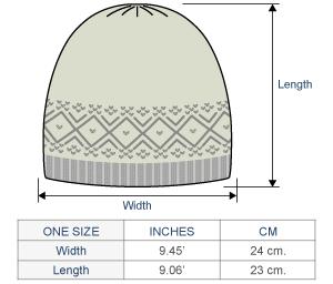 Lille Alpaca Knit Hat - Fleece Lining Size chart