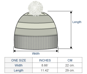 Coral Reef Brushed Alpaca Hat Size chart