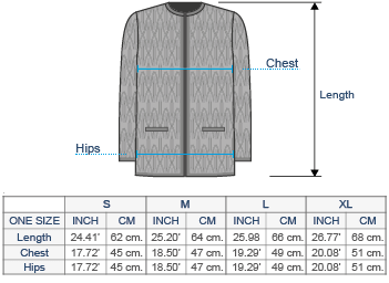 Hilary Alpaca Cardigan Size chart