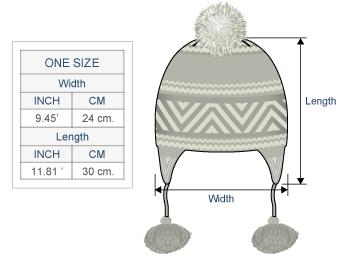 Shipibo Alpaca Boucle Hat with Ear Flaps Size chart