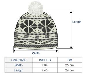Aqua Brushed Alpaca Hat Size chart
