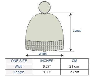 Brushed Striped Alpaca Hat Size chart