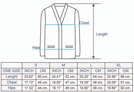 Rustic Stripes Alpaca Cardigan Size chart