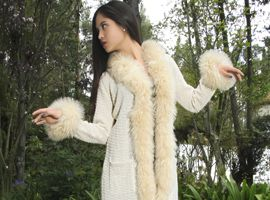 Alpaca Coat Sweater with Fur