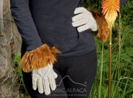 Diamond Cable Alpaca Gloves With Suri Fur