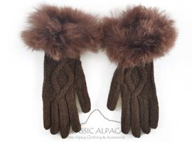 Diamond Cable Alpaca Gloves With Fur | Classic Alpaca Peru