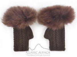 Alpaca Cable Fingerless Gloves with Fur | Classic Alpaca Peru
