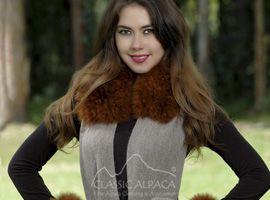 Baby Alpaca Fur Trim Wrap