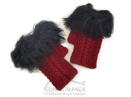 Alpaca Cable Fingerless Gloves with Suri Fur