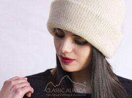 Women's Double Knit English Alpaca Hat   Classic Alpaca Peru