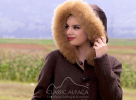 Ladies Reversible Alpaca Toggle Coat with Fur