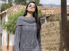 Alpaca Long Cable Knit Sweater Dress