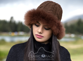 Diamond Cable Alpaca Fur Hat