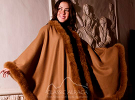 Luxury Baby Alpaca Ruana with fur border