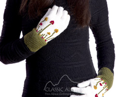 Embroidered Garden Alpaca Gloves