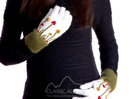 Embroidered Garden Alpaca Gloves   Classic Alpaca Peru