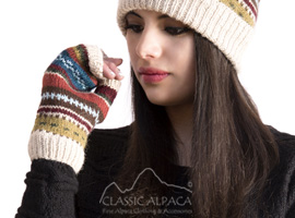 Textured Ski Alpaca Fingerless Gloves