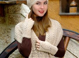 Scallop Lace Alpaca Fingerless Gloves | Classic Alpaca Peru