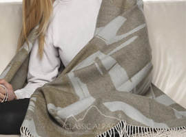 Woven & Brushed Abstract Baby Alpaca Throw