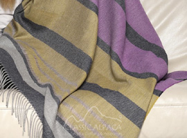 Woven & Brushed Sunset Striped Baby Alpaca Throw
