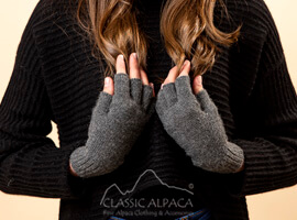 Unisex Alpaca Half Finger Gloves