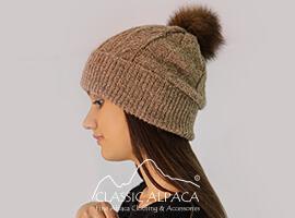 Alpaca Fur Pom Pom Cable Hat