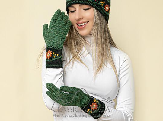 Alpaca Embroidered Leaf Gloves | Classic Alpaca Peru
