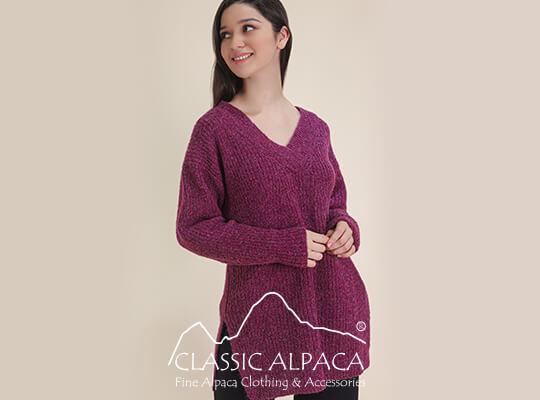 V Neck Brushed Alpaca Sweater   Classic Alpaca Peru