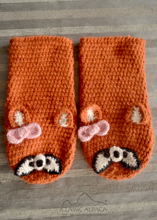 Alpaca Kids-Fox Mittens