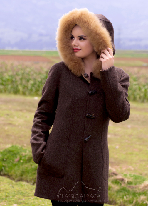 Ladies Reversible Alpaca Toggle Coat with Fur | Classic Alpaca Peru