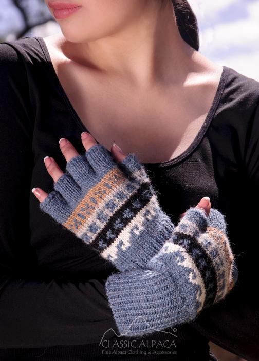 Peruvian Alpaca Half Finger Gloves