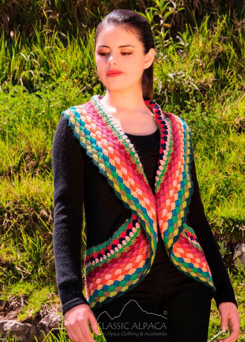 Crochet Circle Alpaca Cardigan