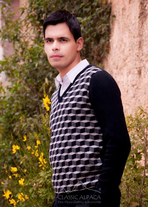 Optical V-Neck Sweater